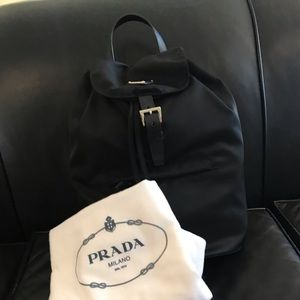 Small nylon Prada backpack with dust bag